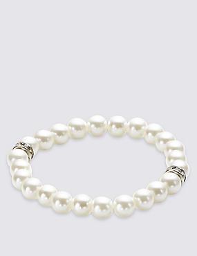Pearl Effect Diamanté Stretch Bracelet
