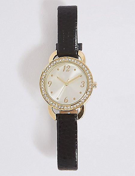 Round Face Sparkle Watch