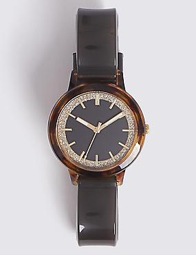 Glitter Round Face Watch