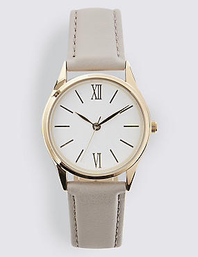 Slim Round Face Strap Watch