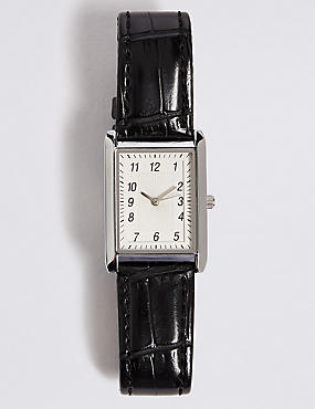 Faux Leather Square Face Strap Watch