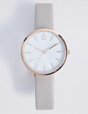 Glitter Digit Round Face Watch