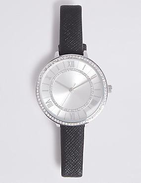Double Sparkle Round Face Strap Watch