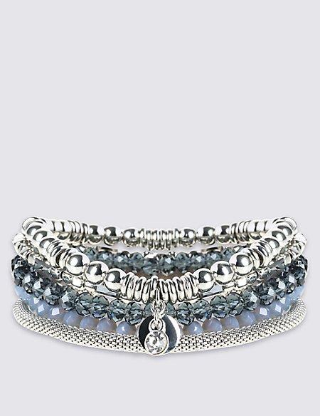 Linked Facet Multi Bracelets