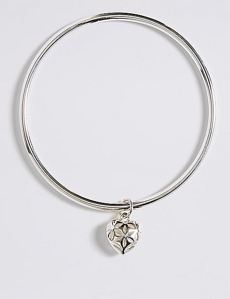 Silver Plated Heart Bangle