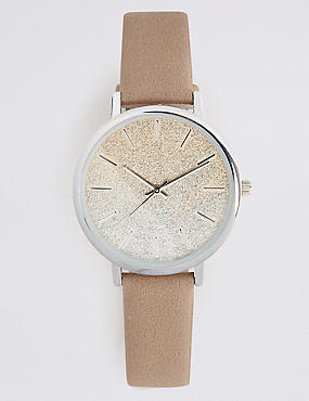 Round Face Strap Watch and Bracelet Set