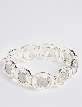 Silver Plated Glitter Disc Bracelet