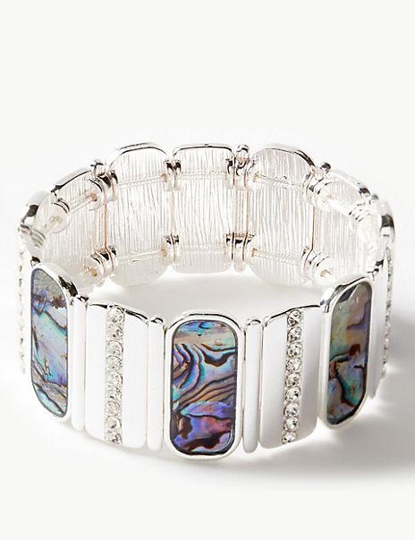 Silver plated Shell Stretch Bracelet