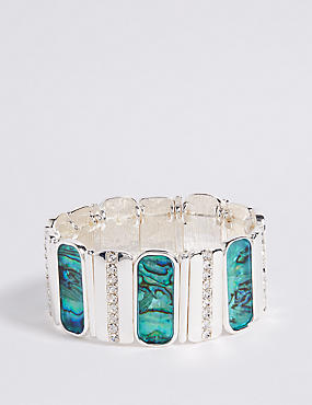 Silver Plated Abalone Shell Stretch Bracelet