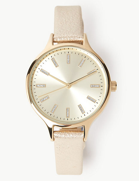 Gold Glitter Strap Watch