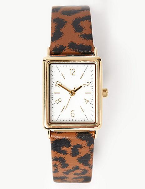 Square Face Leopard Strap Watch