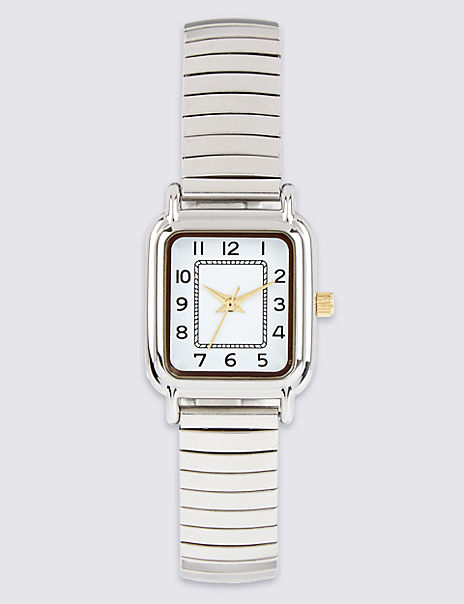Square Face Analogue Expandable Watch
