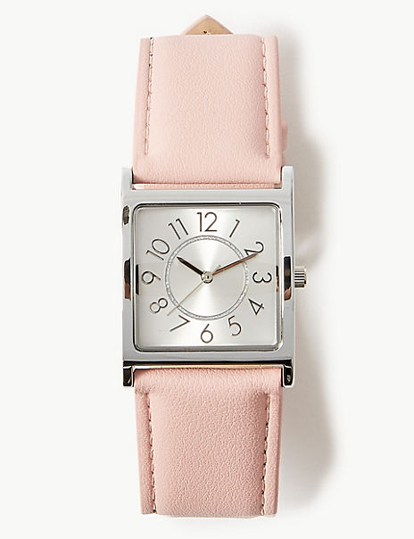 Large Square Face Strap Watch