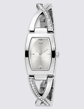 Diamanté Criss-Cross Bracelet Watch