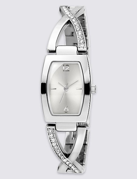 Diamanté Criss-Cross Bracelet Watch