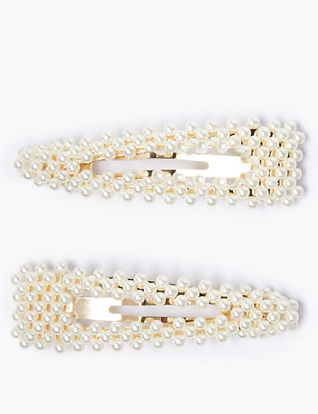 2 Pack Pearl Effect Hair Clips