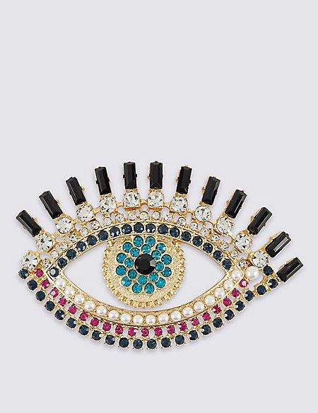 Pearl Effect & Diamanté Eye Brooch
