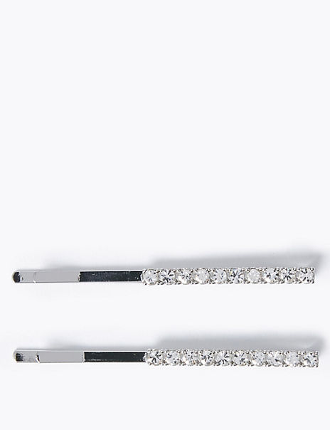 2 Pack White Crystal Hair Clips