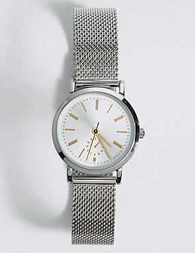 Round Face Mesh Watch