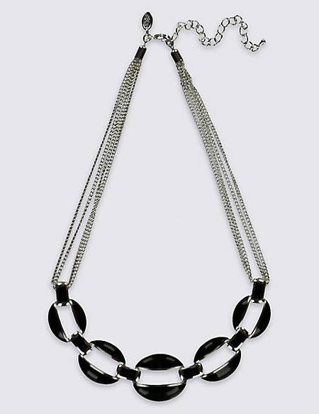 Silver Plated Donut Collar Necklace
