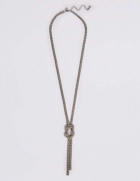 Trapped Diamanté Knot Necklace