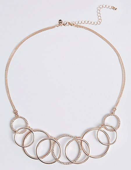 Pave Multi Ring Collar Necklace
