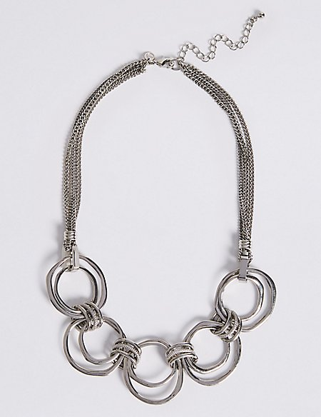 Multi-Row Connected Rings Collar Necklace