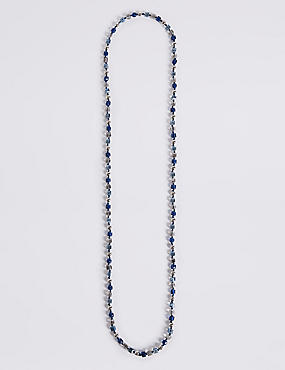 Cube & Pearl Effect Long Rope Necklace