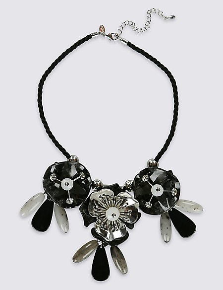 Layered Sparkle Flower Necklace