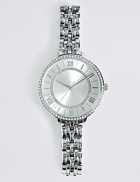 Round Face Double Sparkle Bracelet Watch