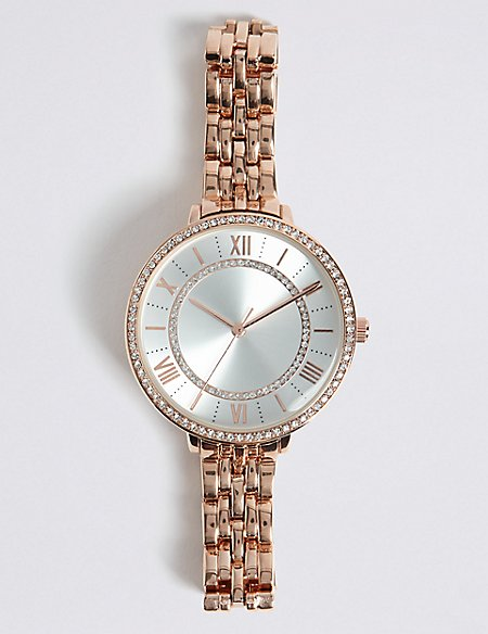 Round Face Double Sparkle Bracelet Watch