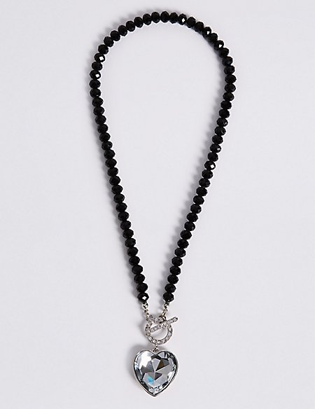 Diamanté Heart Pendant T-Bar Necklace