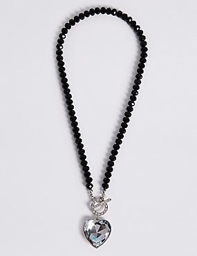 Diamanté Heart Pendant T-Bar Necklace