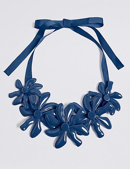 Marks and Spencer Abstract Flower Collar Necklace blue JgqxPwrSI