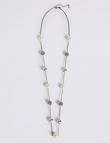 Pearl Effect Snail Station Necklace