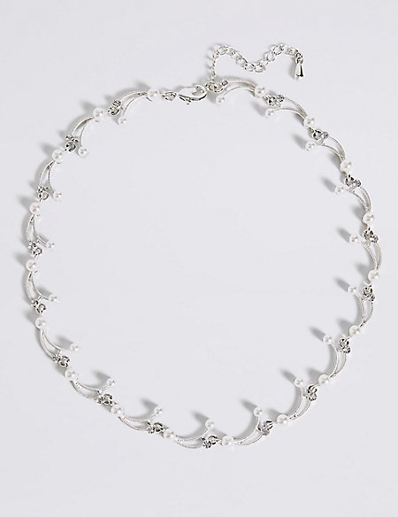 Pearl Effect Curved Sticks Collar Necklace