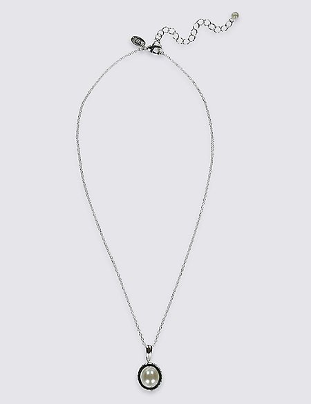 Pave Ring Pearl Effect Necklace