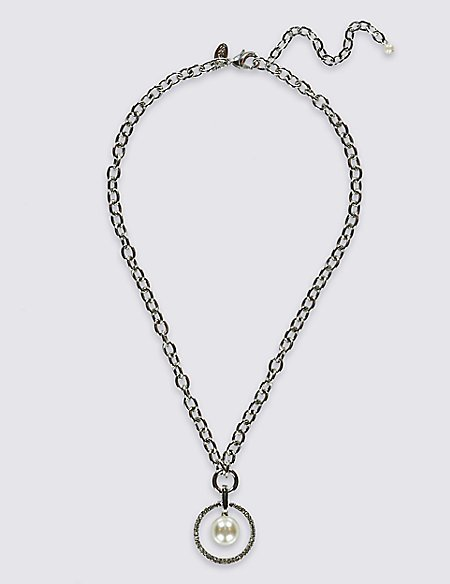 Pave Pearl Effect Chain Necklaces