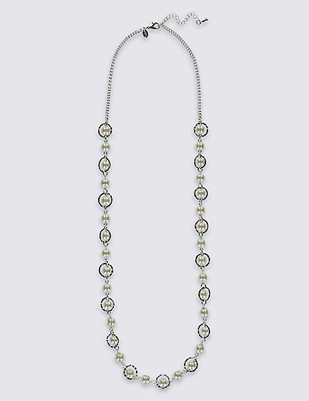 Pearl Effect Wrapped Long Necklace