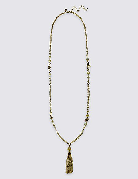 Pearl Effect Knot Tassel Necklace