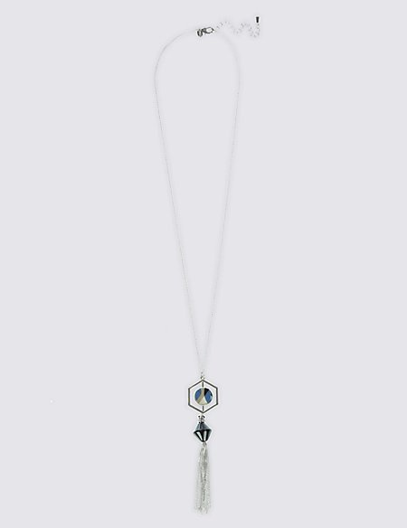 Graphic Resin Tassel Necklace