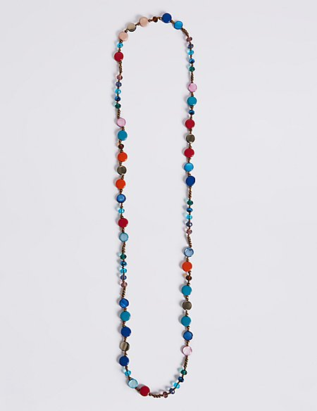 Multi Shell Chip Long Necklace