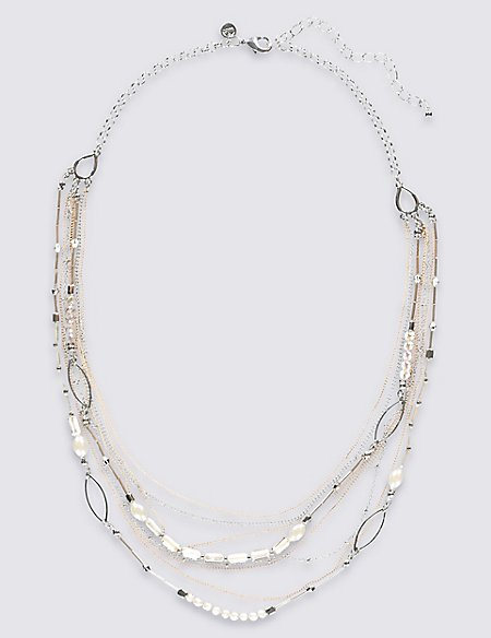 Bugle Glass Rows Necklace