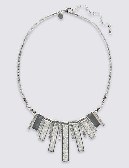 Diamanté Glitter Fan Necklace