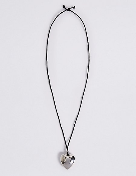 Simple Heart Pendant Rope Necklace