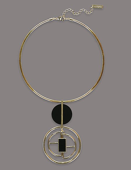 Onyx Geo Circle Necklaces