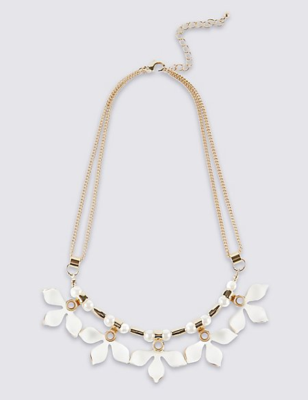 Pearl Effect Floral Section Collar Necklace