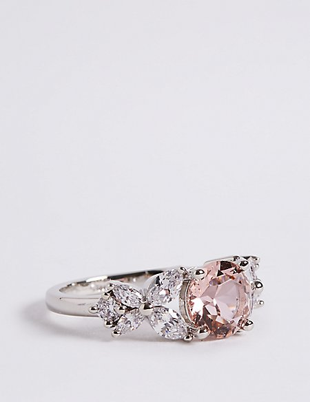 Platinum Plated Diamanté Rose Ring