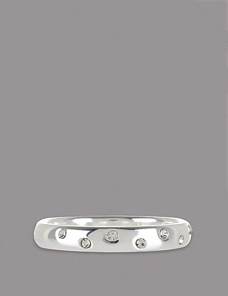 Sterling Silver Scatter Diamanté Ring