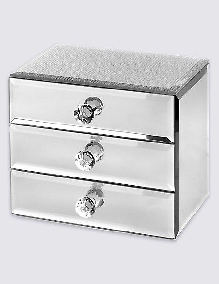 Glitter Diamanté 3 Drawer Jewellery Box